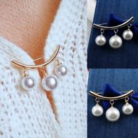 Womens Pearl Fixed Strap Safety Pin Brooch Sweater Cardigan Clip Chain Jewellery
