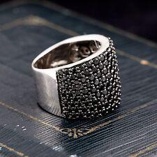 Vintage Designer Sterling Silver Sapphire Cluster 16 mm Tapered Band Ring S 5.75