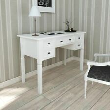 White Writing Desk with 5 Drawers Made of Pine for Bedroom and Office Paint UK