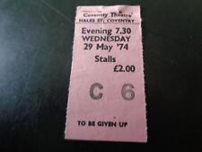 DEEP PURPLE CONCERT TICKET COVENTRY THEATRE WEDNESDAY 29TH MAY 1974 BURN TOUR