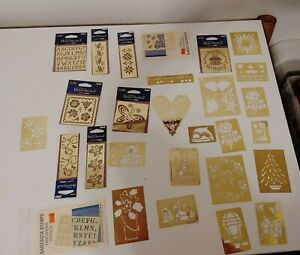 Lot of 28 brass embossing stencils, new and old, various brands and styles