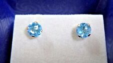 NEW Brilliant Sky Blue Topaz Stud Earrings 14K Yellow Gold Settings 1.20 TCW