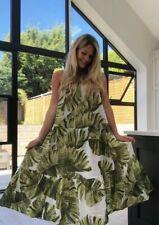 Neues AngebotNEU H & M Weiß & Grün Leaf Druck Knitter Baumwolle Midi Kleid Größe M 14/16