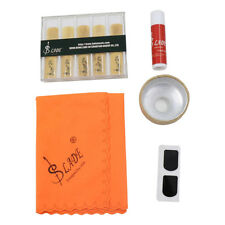 Soprano Saxophone Sax Kit Reeds Mute Cork Grease Cleaning Cloth Tooth Pad