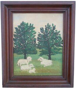 AAFA Late 1800s SMALL Folk Art Primitive Country Painting Naïve Sheep Frame
