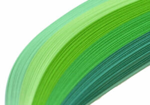 125 quilling paper strips in shades of green 3mm and 5mm wide 125gsm