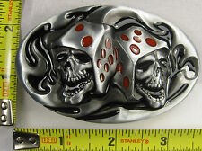DICE SKULS METAL BELT BUCKLE DOUBLE PIRATE FLAME FIRE NEW B367