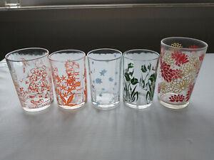 Vintage SWANKY SWIG KRAFT CHEESE FLOWERS, XMAS BEAR etc GLASSES TUMBLERS X 5