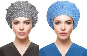 2 Pack Unisex Nurse Hat Surgical Doctor Cap Scrub  Buckle Cotton Caps Medical