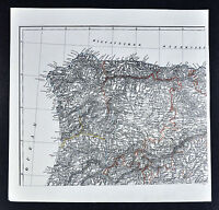 1847 Flemming Map - Northwest Spain Portugal Salamanca Madrid Santiago Oporto