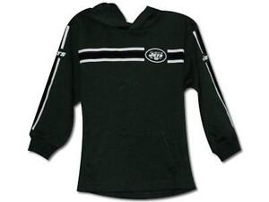 New York Jets Reebok Long Sleeved Hooded NFL T Shirt Sz 14/16 w/pouch