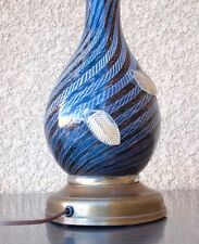 Vintage Murano Art Glass Table Lamp Swirls And Leaves