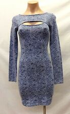 Guess Long-Sleeve Cutout Printed Body-Con Women's Dress, Size S