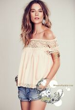 Free People Waldorf lace crochet floral striped off shoulder babydoll swing XS