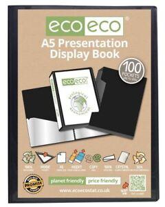 eco-eco A5 50% Recycled 100 Pocket Black Folder Presentation Display Book + Box