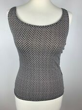 H&M Pima Cotton Checked Print Brown Cream Stretchy Fitted Vest Top Size 8 10, XS