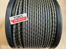 7mm COPPER CORE BRAIDED CLOTH Black with Yellow tracers SPARK PLUG WIRE DIY foot