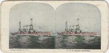 U.S.S. Kansas Battleship Vintage 1900s Muller Stereoview Card Naval Stereocard