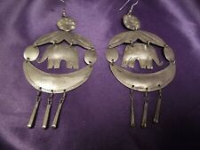 Large Handcrafted Silver Tone Elephant Earrings Vintage