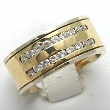 Mens Diamond Ring 1 carat band 14k Yellow White gold channel set wide