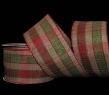 10 Yards Red Green Brown Country Christmas Rustic Primitive Plaid Wired Ribbon 2