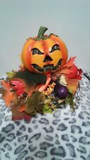 HALLOWEEN FIBER OPTIC PUMPKIN DISPLAY W/FALL LEAVES/CORN ACORN NUTS & MORE
