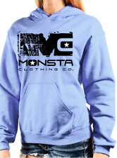 NEW Monsta Clothing Women's Sweater Gym Workout Signature Hoodie Blue