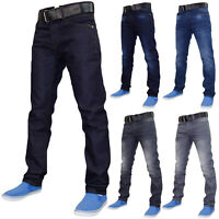 Mens Slim Fit Jeans Skinny Denim Pants Casual Trousers Bottoms With Free Belt