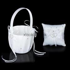 White Satin Double Heart Wedding Flower Girl Basket +Wedding Ring Pillow Set