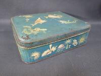 Ancienne boite en fer blanc type boite à biscuits années 1950 french antique box