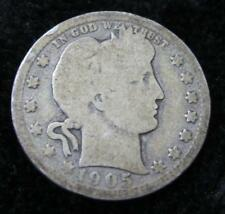 1905 Barber Quarter * Key Date * Clear Date * Great for a Book * 90% Silver