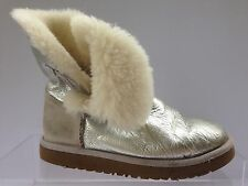 UGG Uggs Bailey Button Metallic Silver Shearling Sheepskin  Boots Size 3