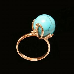 Blue Turquoise 15mm Ball 14k Rose Gold Filled Ring  9.5 S Russian