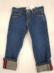 Gucci Kids Blue Washed Denim w/ Red Stripes Sz 4 NWT