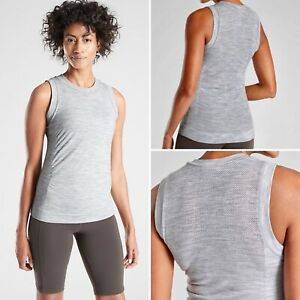 NWT Athleta Foresthill Wool Ascent Heather Tank X-LARGE Grey Seamless Fitted Top