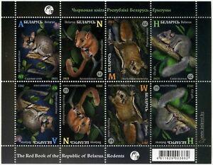 2021 Belarus, fauna, mammals, rodents, sheet of 8 stamps, MNH
