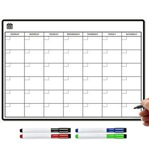 Magnetic Calendar + Dry Wipe Pens, Fridge Calendar or Monthly Planner Whiteboard
