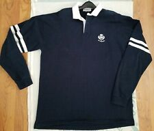 Rugby Nations Scotland Polo Long Sleeves SweatShirt Mens 4XL Navy Blue White EUC