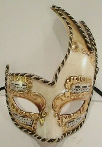 MAR1 HANDMADE IN ITALY - VENETIAN, MASQUERADE CARNIVAL PARTY EYE MASK CREAM/GOLD