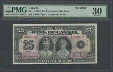 "CANADA #BC-11 $25 1935 ""ENGLISH"" OSBORNE / TOWERS PMG VF 30 WL9979"