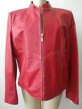 PAMELA MCCOY COLLECTION RED LEATHER LONG SLEEVE JACKET SIZE L - NEW