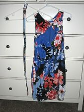 Cache blue floral stretch cut out front belted dress size M