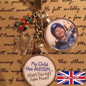 Personalised Photo Keyring - Child Has Autism Awareness - Gift Present Birthday