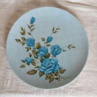 """Set of 8 Vtg Texas Ware Melamine 10"""" Dinner Plates With Blue Roses"""