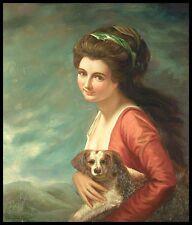 """Giovane donna e il suo cane, 24 """"X20"""" pittura ad olio su tela, dipinto a mano"""