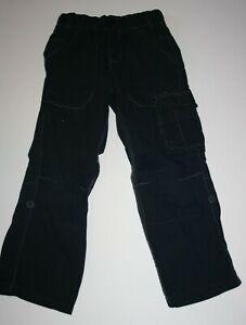 Used Next UK Boys 110cm 4 5 year Black Pull On Cargo Pocket Drawstring Pants