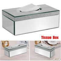 Designer Tissue Box Holder Cover Case Rectangle Diamante Mirror Bevelled Edges