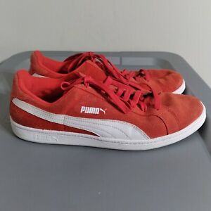 Puma Suede Men's Size 10 Shoes Red/White Low Top Classic Athletic Sneakers