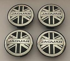 Set of 4 Wheel Center Caps HUB CAP UNION JACK FLAG 59mm For JAGUAR X TYPE XK XF