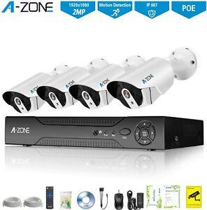 A-ZONE 1080P Security Camera System 2.0MP HD 1080P Outdoor Camera IP67 Home Secu